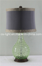 Decorative Table Lamps with Green Glass Body+Fabric Shade