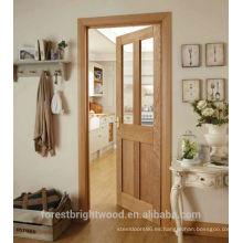 Sala de estar interior 4 paneles de roble blanco puerta de madera mordern
