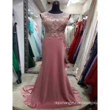 2017 Back See Through Beautiful Embroidery Satin Made In China Pink Appliqued Evening Prom Dress