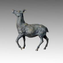 Tier Messing Statue Hirsch Steigender Kopf Bronze Skulptur Tpal-027