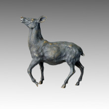 Animal Brass Statue Deer Rising Head Bronze Sculpture Tpal-027