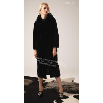 Pure Color Women Hooded Kopenhagen Mink Coat