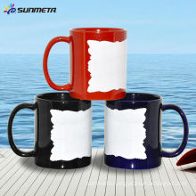 White Ceramic Conic Mug With Patch Irregularity edge Blank 11oz At Cheap Price Wholsale Original Factory Manufacturer