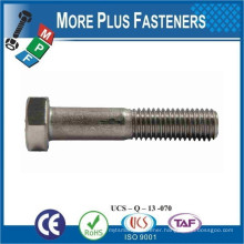 Made in Taiwan DIN 931 Hexagon Bolt Partial Thread Stainless Steel Carbon Steel Brass or Alloy