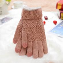 Guante de color rosa con pantalla táctil Sweet Warm Glove Jacquard Knit Women. Venta al por mayor