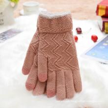 Sweet Pink Touch Screen Warm Glove Jacquard Knit Women Glove. Wholesale