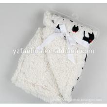 microfiber 2 ply animal printed pattern baby blanket