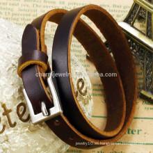 2015 pulsera genuina unisex clásica unisex de la hebilla de la plata de la correa de cuero del nuevo marrón de la manera