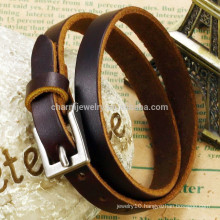 2015 new fashion brown genuine leather strap silver buckle bracelet unisex classic PH768
