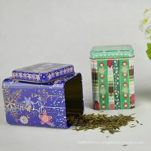 Square Wholesale Tea Tin, boîte d'étain promotionnelle, boîte en étain de café