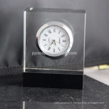 Horloge de table en cristal de conception simple personnalisée horloge en cristal