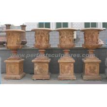 Jardinera de flores de jardín con piedras de mármol de piedra caliza Granito arenisca (QFP311)