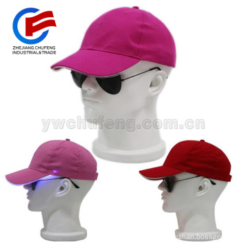 100% cotton PU optical Flashing LED hats / LED cap light / LED baseball caps