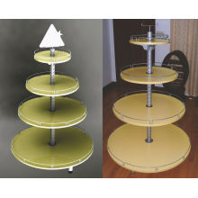 Particle Board Metal Light Duty Round Shop Display Stands Rack
