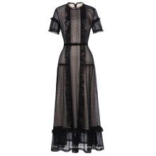Kate Kasin impresionante manga corta de encaje negro vestido de noche vestido de fiesta largo KK001084-1