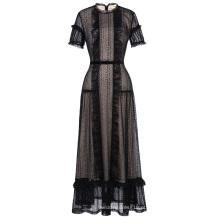 Kate Kasin, deslumbrante, manga curta, laço, preto, noite, vestido de baile, longo, vestido de festa KK001084-1