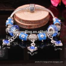 Summer blue alloy bead fancy designs new designs ladies bracelet models