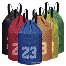 Custom Polyester Basketball Drawstring Backpack Football Sports Soccer Bag with Ball Compartment