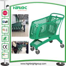 Supermarkt voller Kunststoff Einkaufswagen Einkaufswagen