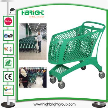 Carro de carrito de compras de plástico lleno de supermercado