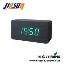 Wooden Digital Alarm White Led Clock