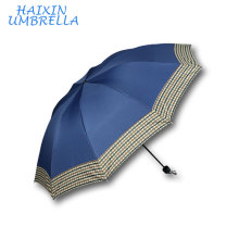 Promotional Cheap New Plain Color Colorful Umbrella Check Edge Customized 3 Foldable Umbrella