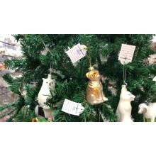Pequeño animal en forma de rana verde de cristal adornos navideños
