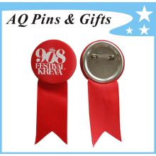 Insigne de bout en étain unique personnalisé de haute qualité avec ruban (badge à bouton-48)