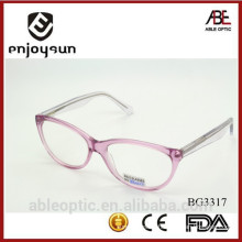 2015 double colors transparent pink acetate hand made spectacles optical frames eyewear eyeglasses
