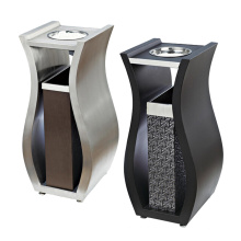 Stainless Steel and Leather Dustbin for Lobby (YW0059)