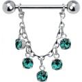 Blue Zircon Jeweled Essence Chain Drop Nipple Ring