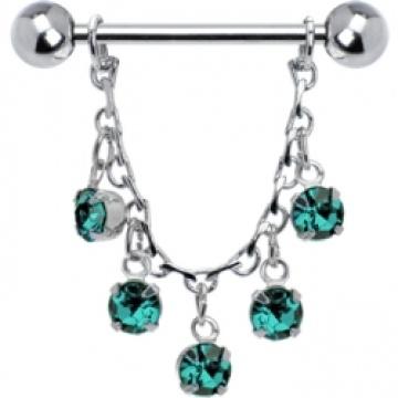 Blue Zircon joyas esencia cadena anillo de pezón de la gota