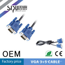 SIPU Factory direct sell vga cable, VGA3+5 with 2 ferrites,best suit for vga cable distributor