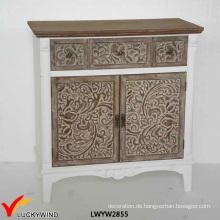 2 Türen 2 Schubladen Französisch Kleine Hand geschnitzte alte Konsolen Möbel
