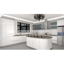 Armário de cozinha de alto brilho de laca branca design design Circle