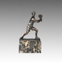Estatua Deportiva Jugador De Tenis Escultura De Bronce, Milo TPE-726