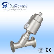 Válvula de asiento de ángulo de control neumático de acero inoxidable con conexión de brida