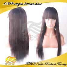 Top Grade 7a quality #4 100% virgin brazilian human hair full lace wigs with bangs
