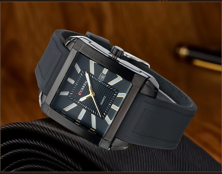 CURREN Silicon Band Waterproof Men Quartz Watch