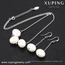 63830 einzigartige Damen weiße Farbe Mode Perle Ohrring Anhänger Schmuck-Set