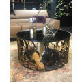 Hot sale glass top coffee table set with side table stainless steel coffee table