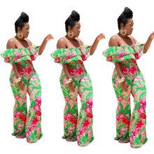 New Arrivals Wholesale Stylish Print One-Shoulder Jumpsuit