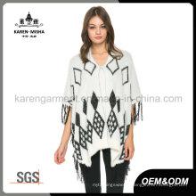 Ladies Fringed Hem Fluffy Knit Argyle Sweater