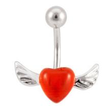 Aço cirúrgico 316L asa de anjo coração vermelho bonito olho de gato cristal anel de barriga de jóias