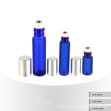 3ml 5ml 10ml Roll en la botella cosmética azul del suero, botella cosmética de cristal, botella cosmética