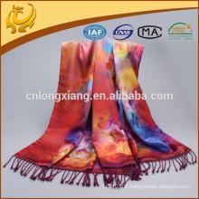 Cachecol de seda de pashmina de nova mulher Cachecóis de envoltório floral Rose Shail impresso no inverno