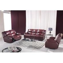 Sofá de cuero reclinable del sofá del cuero de la calesa del cuero genuino (805)