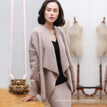 Women cardigan with big turn down collar fashion top fly loose cashmere cardigans no button
