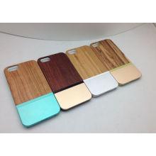 Tampa combinado de madeira do telemóvel do metal de alumínio para o iPhone 6