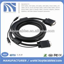 15PIN cable VGA con audio de 3,5 mm para PC TV